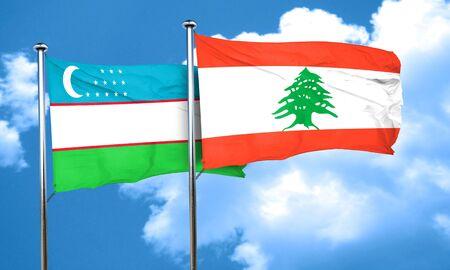 lebanon: Uzbekistan flag with Lebanon flag, 3D rendering