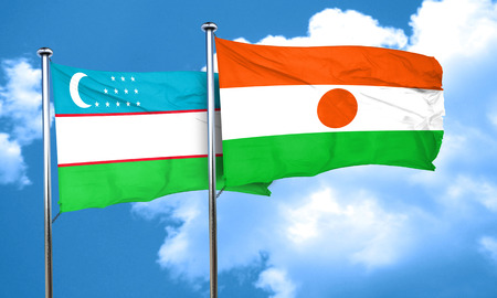 uzbekistan: Uzbekistan flag with Niger flag, 3D rendering