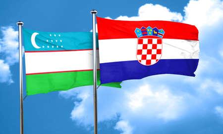 bandera croacia: bandera de Uzbekist�n con la bandera de Croacia, 3D
