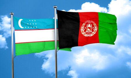 Uzbekistan flag with afghanistan flag, 3D rendering