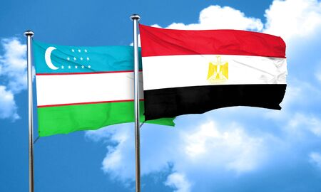 bandera egipto: Uzbekistan flag with egypt flag, 3D rendering