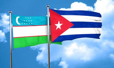 bandera cuba: bandera de Uzbekist�n con la bandera de Cuba, 3D Foto de archivo