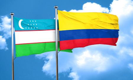 bandera de colombia: bandera de Uzbekist�n con la bandera de Colombia, 3D Foto de archivo