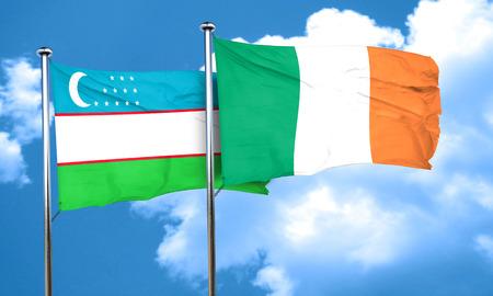 bandera de irlanda: bandera de Uzbekist�n con la bandera de Irlanda, 3D