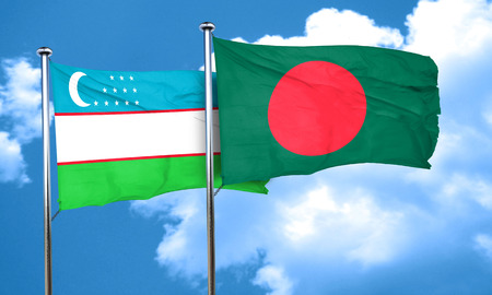 bangladesh: Uzbekistan flag with Bangladesh flag, 3D rendering