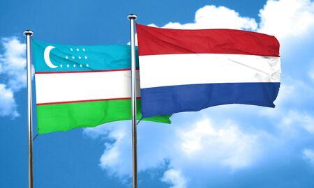 flag of netherlands: Uzbekistan flag with Netherlands flag, 3D rendering