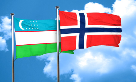 norway flag: Uzbekistan flag with Norway flag, 3D rendering