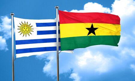 bandera uruguay: bandera de Uruguay con la bandera de Ghana, 3D