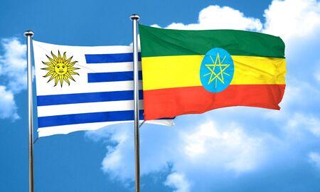 bandera de uruguay: bandera de Uruguay con la bandera de Etiopía, 3D Foto de archivo