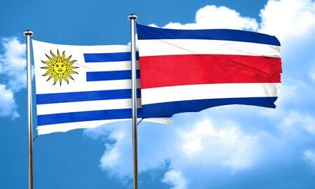 bandera de uruguay: bandera de Uruguay con la bandera de Costa Rica, 3D