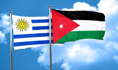 bandera de uruguay: bandera de Uruguay con la bandera de Jordania, 3D