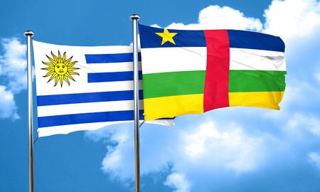 bandera de uruguay: bandera de Uruguay con la bandera de la Rep�blica Centroafricana, 3D