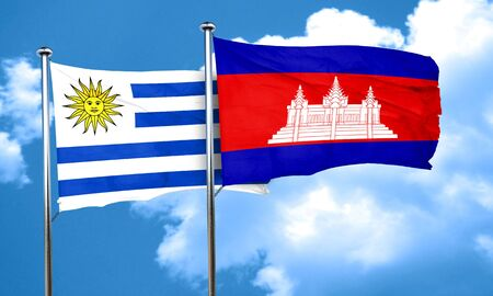 cambodian: Uruguay flag with Cambodia flag, 3D rendering