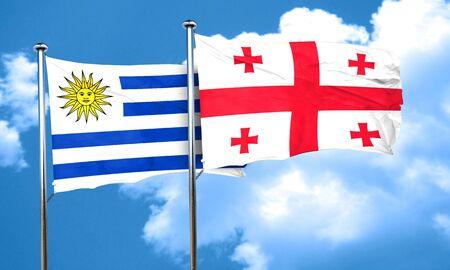 bandera uruguay: bandera de Uruguay con la bandera de Georgia, 3D