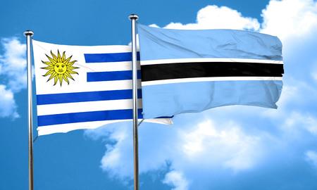 bandera uruguay: bandera de Uruguay con la bandera de Botswana, 3D Foto de archivo