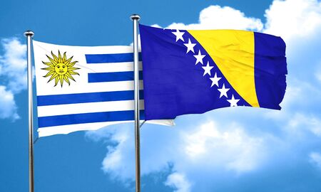 uruguay flag: Uruguay flag with Bosnia and Herzegovina flag, 3D rendering