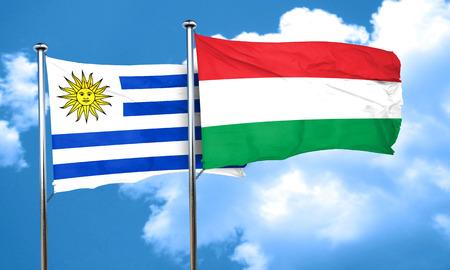 bandera de uruguay: bandera de Uruguay con la bandera de Hungr�a, 3D Foto de archivo
