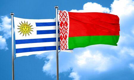 bandera uruguay: bandera de Uruguay con la bandera de Bielorrusia, 3D Foto de archivo