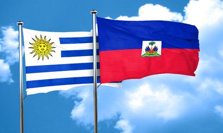 haiti: Uruguay flag with Haiti flag, 3D rendering