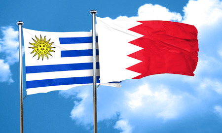 bandera de uruguay: bandera de Uruguay con la bandera de Bahrein, 3D Foto de archivo