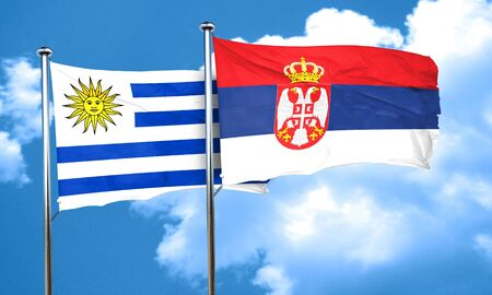 serbia flag: Uruguay flag with Serbia flag, 3D rendering Stock Photo