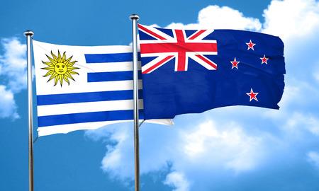 bandera de uruguay: bandera de Uruguay con la bandera de Nueva Zelanda, 3D Foto de archivo