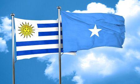 bandera uruguay: bandera de Uruguay con la bandera de Somalia, 3D