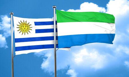 bandera uruguay: bandera de Uruguay con la bandera de Sierra Leona, 3D