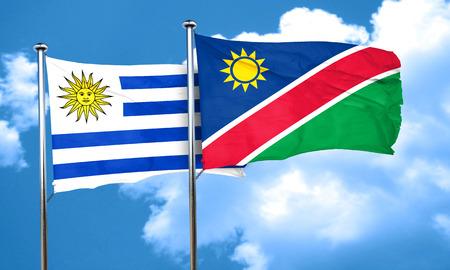 bandera de uruguay: bandera de Uruguay con la bandera de Namibia, 3D Foto de archivo