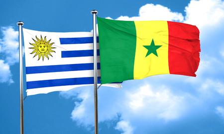 bandera de uruguay: bandera de Uruguay con la bandera de Senegal, 3D Foto de archivo
