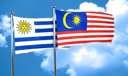 bandera de uruguay: bandera de Uruguay con la bandera de Malasia, 3D