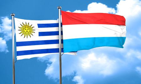 bandera de uruguay: bandera de Uruguay con la bandera de Luxemburgo, 3D Foto de archivo