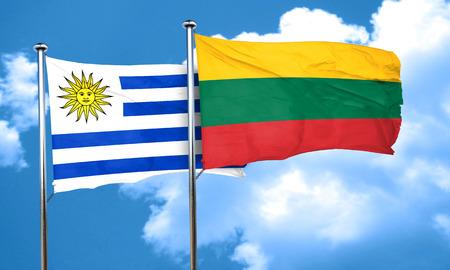 bandera de uruguay: bandera de Uruguay con la bandera de Lituania, 3D Foto de archivo
