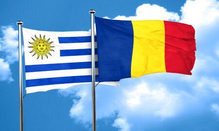 bandera de uruguay: bandera de Uruguay con la bandera de Rumania, 3D