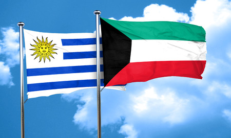bandera de uruguay: bandera de Uruguay con la bandera de Kuwait, 3D