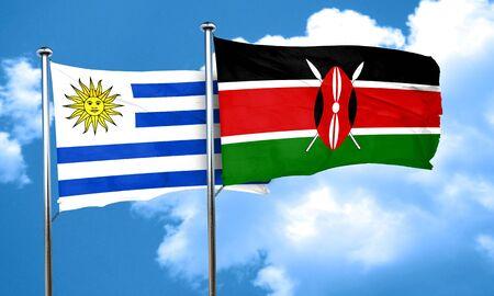 bandera de uruguay: bandera de Uruguay con la bandera de Kenia, 3D