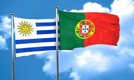 bandera de uruguay: bandera de Uruguay con la bandera de Portugal, 3D