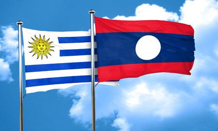 bandera uruguay: bandera de Uruguay con la bandera de Laos, 3D