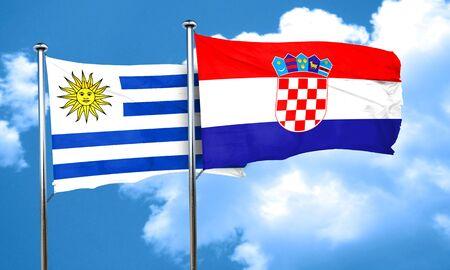 croatia flag: Uruguay flag with Croatia flag, 3D rendering Stock Photo
