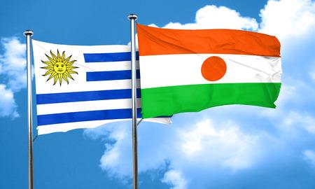 bandera uruguay: bandera de Uruguay con la bandera de Niger, 3D