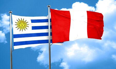 bandera de uruguay: bandera de Uruguay con la bandera de Perú, 3D