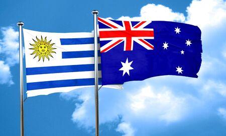 bandera uruguay: bandera de Uruguay con la bandera de Australia, 3D