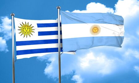 bandera de uruguay: bandera de Uruguay con la bandera argentina, 3D
