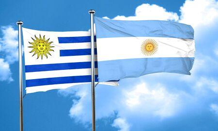 argentine: Uruguay flag with Argentine flag, 3D rendering