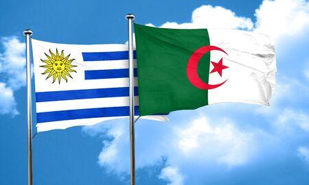 bandera de uruguay: bandera de Uruguay con la bandera de Argelia, 3D