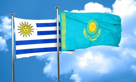 bandera de uruguay: bandera de Uruguay con la bandera de Kazajstán, 3D