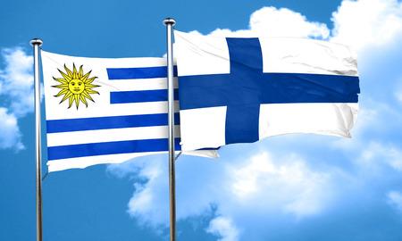 bandera de uruguay: bandera de Uruguay con la bandera de Finlandia, 3D