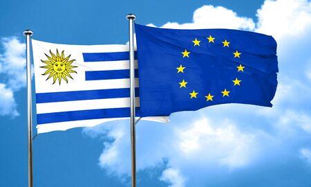 bandera de uruguay: bandera de Uruguay con la bandera de la Uni�n Europea, 3D Foto de archivo