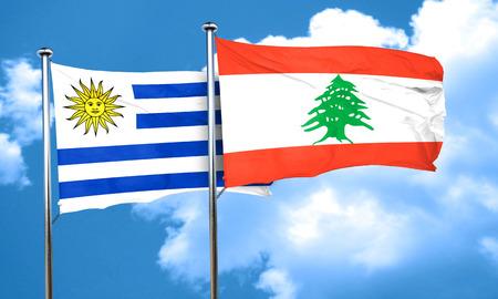 bandera uruguay: bandera de Uruguay con la bandera de Líbano, representación 3D Foto de archivo