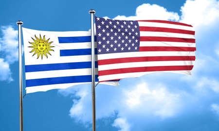 bandera de uruguay: bandera de Uruguay con la bandera americana, 3D